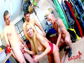 beautiful aged blonde receives fucked in a gang