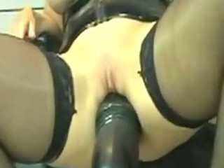 kinky leather mother i marian rides huge dildo