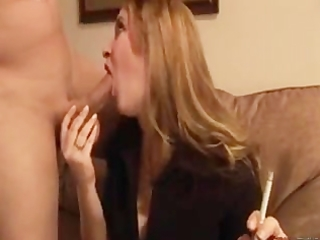 wife gives her man a smokey bj