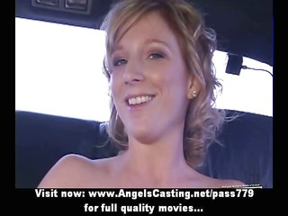 horny blond dilettante flashing tits and doing