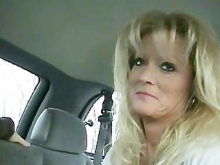 golden-haired cougar smokey car bj