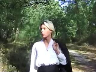 golden-haired wife screwed in forest