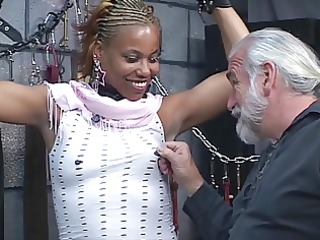cute juvenile black bdsm babe gets restrained in