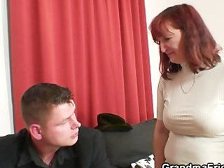 poker playing granny is drilled by two guys