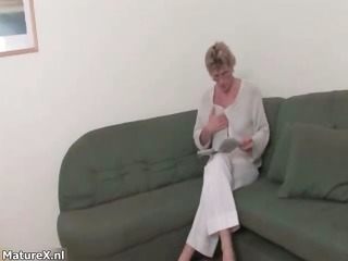 horny old blonde woman gets s garb on the