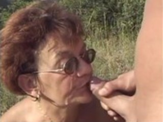 granny receives fucked by young lad in the woods