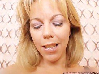 lewd breasty mom blows juvenile cock