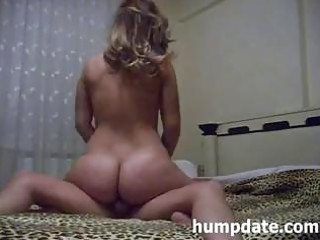 wife with hot ass rides cock and receives drilled