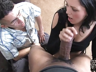 white wife takes giant dark wang in front of