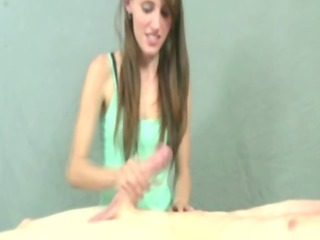 petit brunette gives a great handjob to her