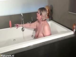 naughty overweight woman receives lustful rubbing