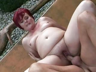 fat grandma enjoying hard sex