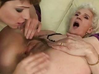 granny enjoys lesbian sex with juvenile girl