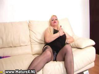 blonde busty mamma rubs her large part0