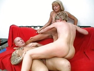 two sexy granny harlots share one lucky ramrod