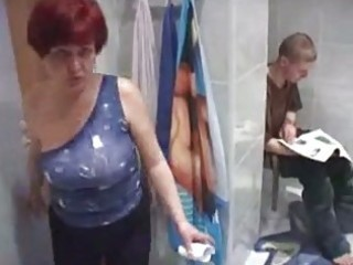 mommy and guy having sex in toilet