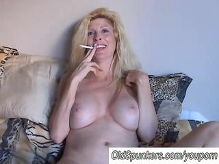 gorgeous blond mother i enjoys a smoke break