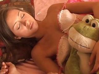 sleeping brunette teen in teasing lingerie gets