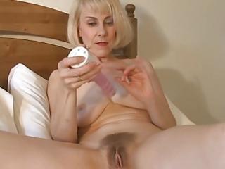 sweet mom hazel may plays with her bushy pussy