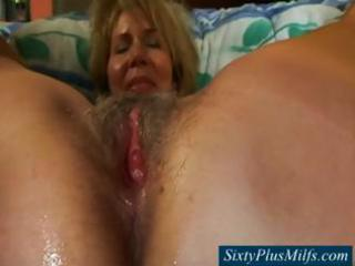 granny pussy gets threesome cream filling