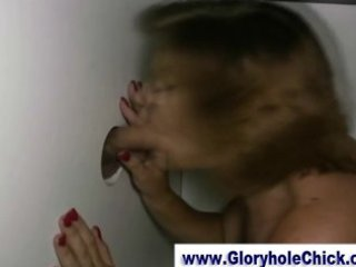 immodest mature gloryhole bitch gets a spunk