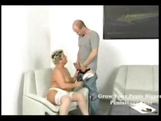 chubby golden-haired granny getting it on with