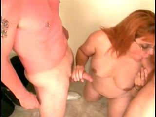 skanky mature broad sucks youthful mates