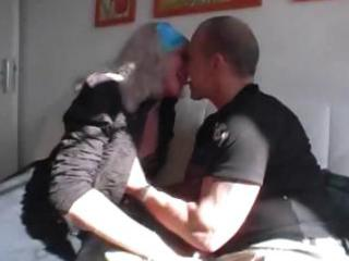 german granny gets three-some love from a younger