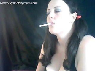 sexy mum chain smoking with dangles