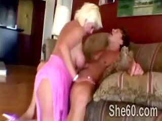 big stacked blond jaguar pumped hard by young bad