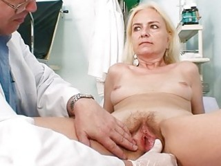 skinny unshaved granny woman doctor treatment