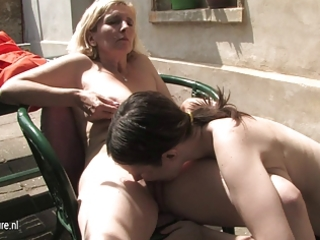 young hairy lesbian daughter bonks a mature