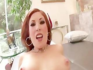 hawt redhead d like to fuck rides knob for facial