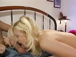 german blonde dp and facial