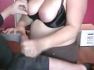 overweight wife giving excellent cook jerking to