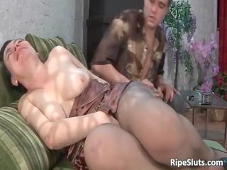 breasty aged brunette slut sucks on hard