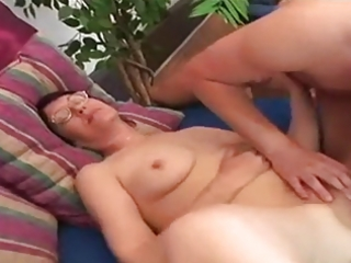 obese youthful curly granny in valuable action