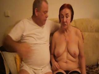horny old redheaded granny sucks her hubbys cock