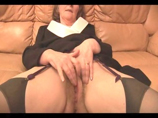 hairy granny in stockings plays with panties then