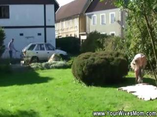 sunbathing granny blows guy in yard