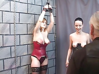 two bdsm lesbo sluts eat cunt and spank for old